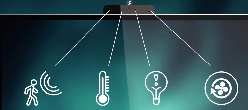 интерактивный дисплей автоматически определяет, сколько людей находится на встрече, а затем настраивает температуру, освещение и качество воздуха для оптимального комфорта собравшихся