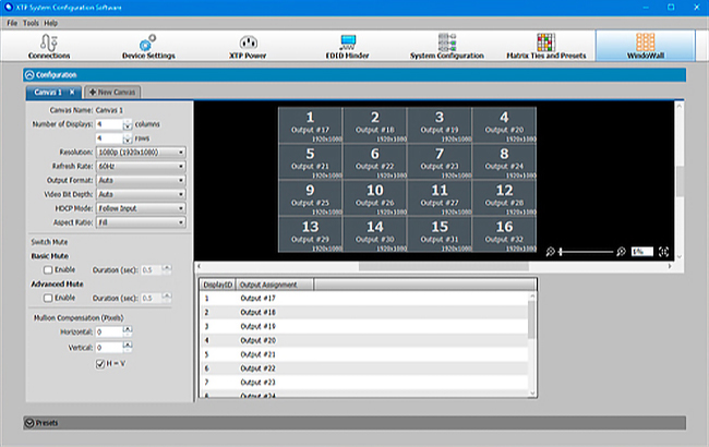 Extron XTP WindoWall, GUI