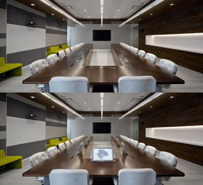 Элегантные выдвижные мониторы Dynamic2 в центральном офисе разработки программного обеспечения, расположенном в городе Сан-Хосе в Калифорнии.